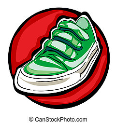 green sneakers on white - green sneakers with loops isolated...