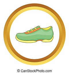 Green sneakers vector icon