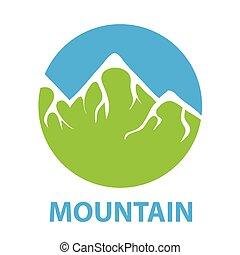green snow-capped mountain, vector logo