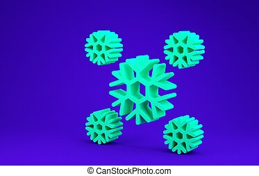 Green Snow icon isolated on blue background. Minimalism concept. 3d illustration 3D render