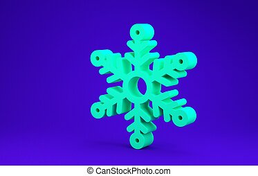 Green Snowflake icon isolated on blue background. Minimalism concept. 3d illustration 3D render