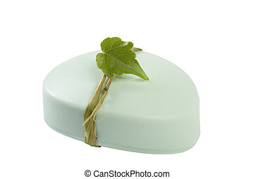 green soap with leaf
