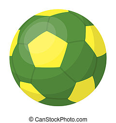 Green soccer ball icon in cartoon style isolated on white background. Brazil country symbol stock bitmap, rastr illustration.