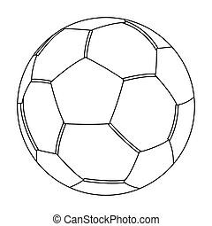 Green soccer ball icon in outline style isolated on white background. Brazil country symbol stock bitmap, rastr illustration.