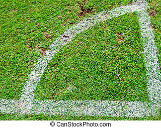 Green soccer field , Corner Kick from top view