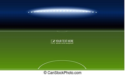 Green soccer field from the goalkeeper area with the spotlights with copy-space for your text or message. Lighted football field, horizontal image with aspect HD video