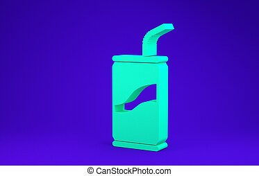 Green Soda can with drinking straw icon isolated on blue background. Minimalism concept. 3d illustration 3D render