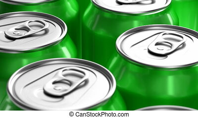 Green soda cans 3D animation - Realistic 3D looping...