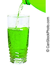 green soda in a tall glass, pour from the bottle - cold...