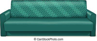 Green sofa icon, realistic style