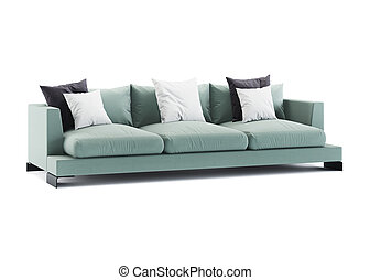 Green sofa isolated on white background. 3D rendering.