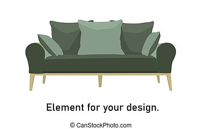 green sofa on a white background isolated vector illustration..