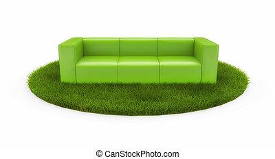 Green sofa on green field