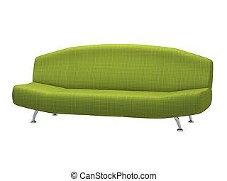 Green sofa on white background