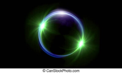 green Solar eclipse in space concept with green ring flare -...