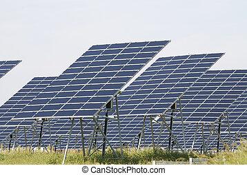 Green solar energy - Alternative energy with a field of...