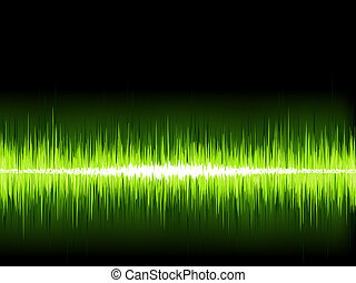 Green sound wave on white background. + EPS8