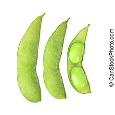green soybeans on white background. Top view.