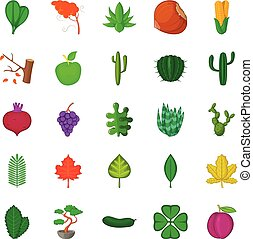 Green space icons set, cartoon style