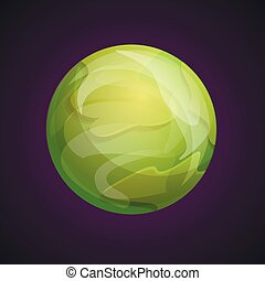 Green space planet icon, cartoon style