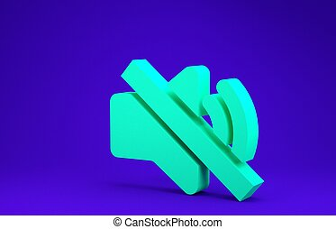 Green Speaker mute icon isolated on blue background. No sound icon. Volume Off symbol. Minimalism concept. 3d illustration 3D render