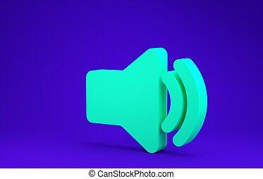 Green Speaker volume icon - audio voice sound symbol, media music icon isolated on blue background. Minimalism concept. 3d illustration 3D render