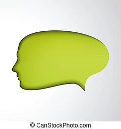Green speech bubble. Concept face