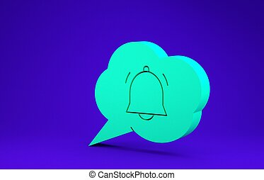 Green Speech bubble with chat notification icon isolated on blue background. New message, dialog, chat, social network notification. Minimalism concept. 3d illustration 3D render