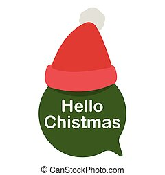 Green Speech Bubble With Santa Hat Vector Illustration flat icon