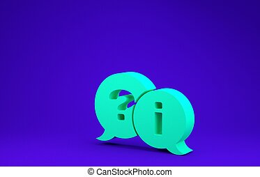 Green Speech bubbles with Question and Exclamation icon isolated on blue background. FAQ sign. Copy files, chat speech bubble and chart. Minimalism concept. 3d illustration 3D render