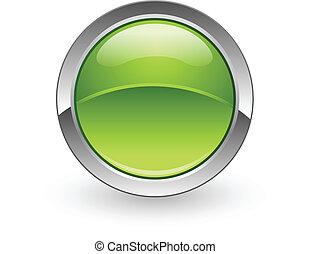 Green sphere button - A vector green sphere push button