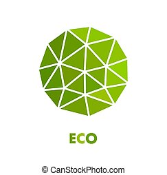 Green spherical eco symbol. Vector illustration