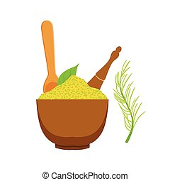 Green spices in a wooden bow. Colorful cartoon illustration