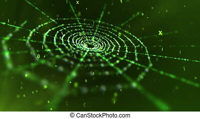 """Green Spider Web in Black Cyberspace"""
