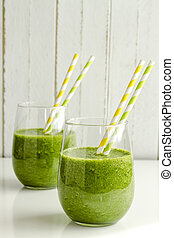 Green Spinach Kale Detox Smoothie - Two glasses filled with ...