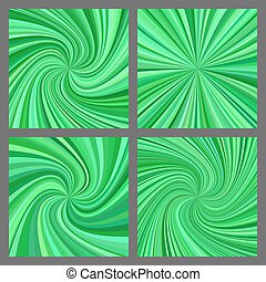 Green spiral and starburst background design set