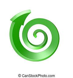 Green spiral arrow. Top view. 3D