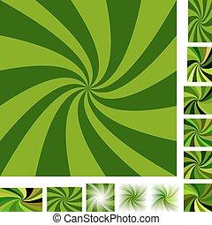 Green spiral background set