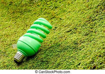 Green spiral light bulb