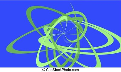 green spiral lines in blue