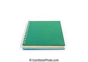 Green spiral notebook.
