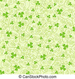 Green spirals and clover backgrounds