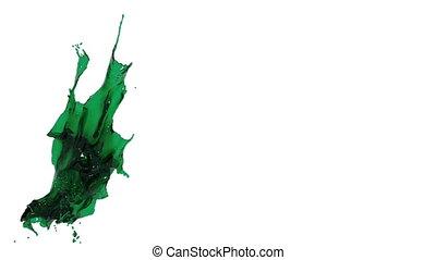 green splash. big spilling in slow motion. tinted oil