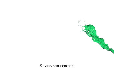 green splash in slow motion. big splashes. Colored paint