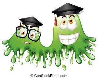 Green splash with graduation caps
