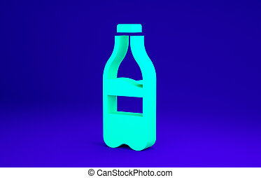 Green Sport bottle with water icon isolated on blue background. Minimalism concept. 3d illustration 3D render