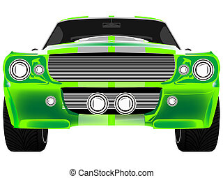 green sport car front isolated on white, abstract art...