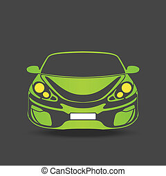 Green sport car - green silhouette of a sports car on a dark...