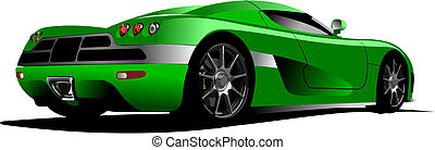Green sport  car on the road. Vector illustration