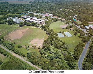 Green sport fields aerial drone view. Sport park with green...